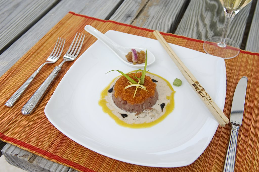 Stock Photo: 4272-1954 Fine dining at Little Whale Cay