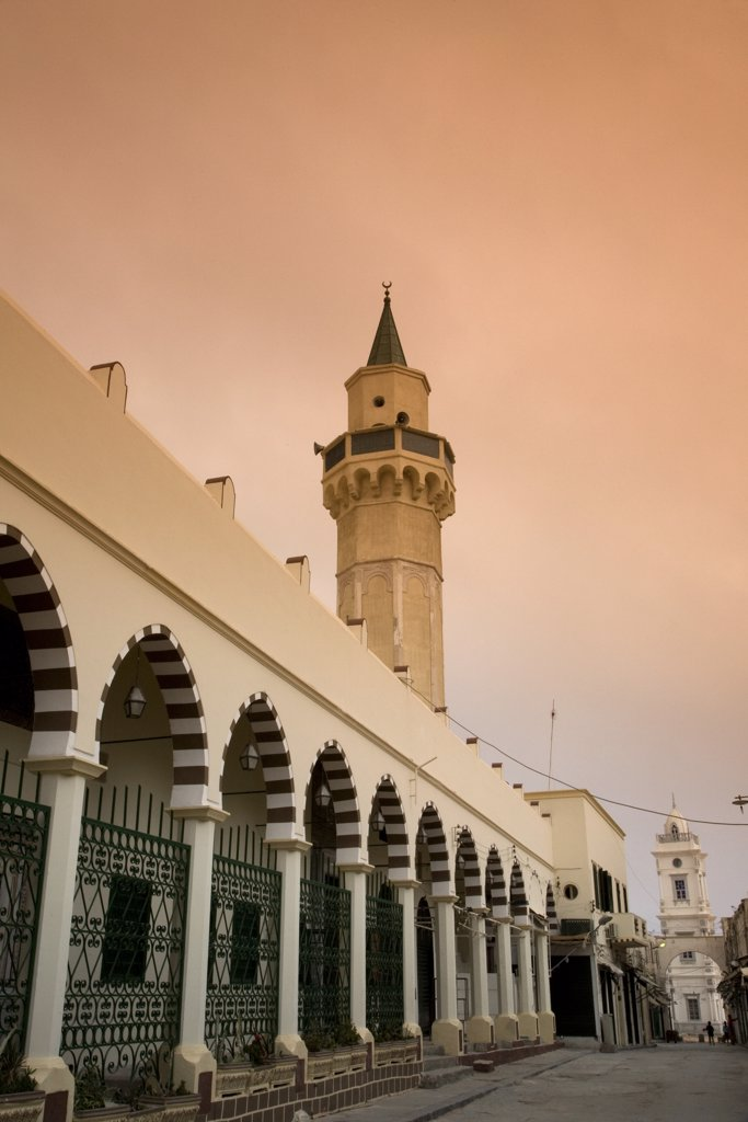 Stock Photo: 4272-19808 Tripoli, Libya; The Ahmed Pasha Qaramanli Mosque standing right behind one of the main gates to the historical Medina