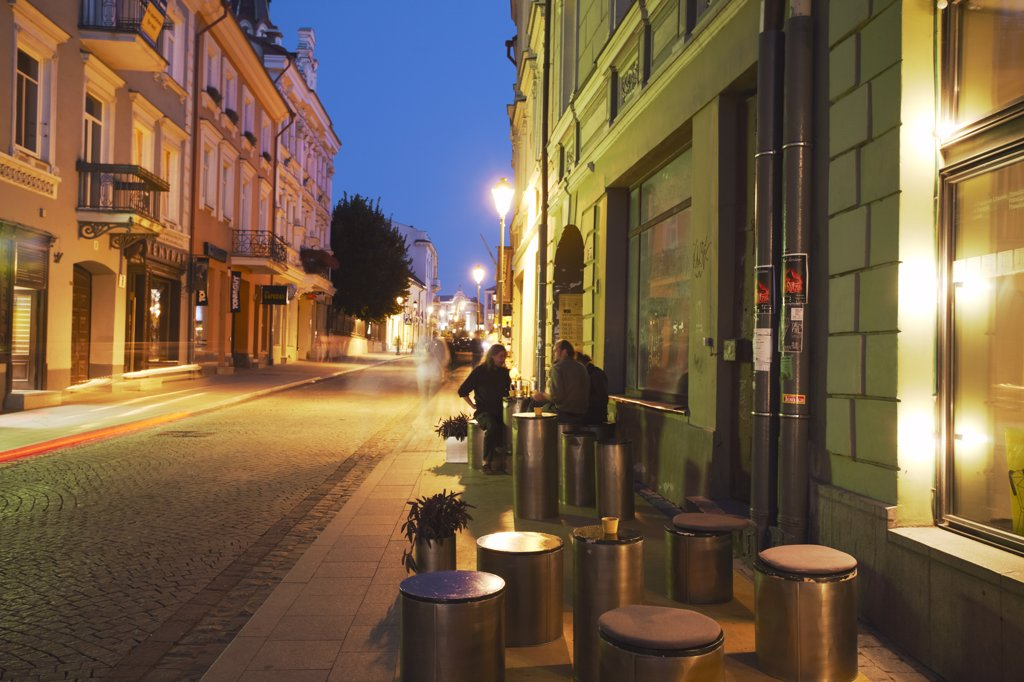 Stock Photo: 4272-19967 Lithuania, Vilnius, Outdoor Cafe On Pavement On Pilies Gatve