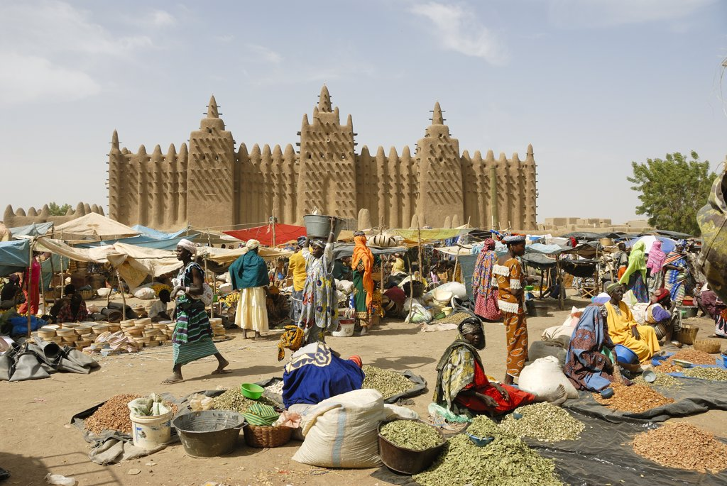 Stock Photo: 4272-20731 Market in front of the Djenee mosque,  a UNESCO World Heritage Site. Mali, West Africa