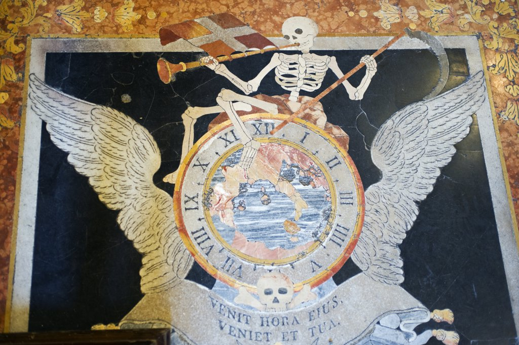 Stock Photo: 4272-21135 Malta, Valletta.  One of 400 marble tombstones beneath which the Knights of St John are buried under the floor of St John's Co-Cathedral.  Many tombstones show the grim reaper.