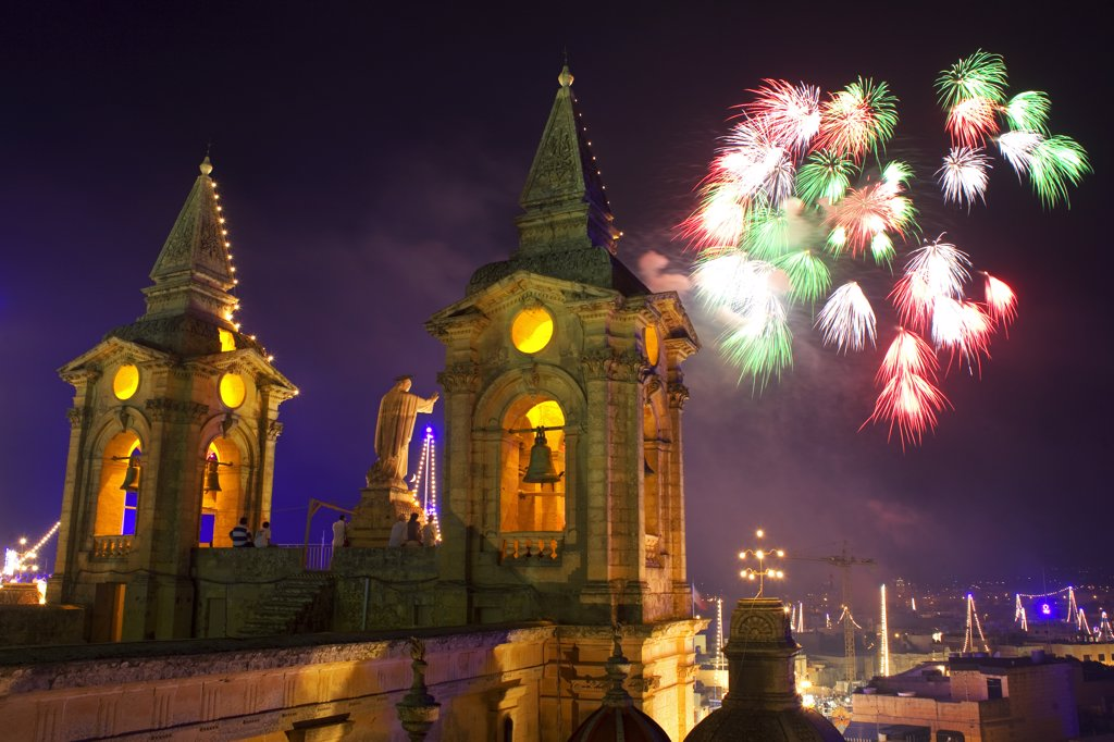 Malta, Zurrieq; During a feast for the patron Saint, a firework display. : Stock Photo