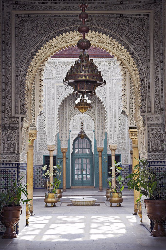Stock Photo: 4272-21520 The interior of the Mahakma du Pasha in the Quartier Habous or 'New Medina' in Casablanca. The building was once a palace and  law courts but is now a police prefecture. It has over 60 rooms decorated with carved wooden ceilings, stuccos and stone floors.
