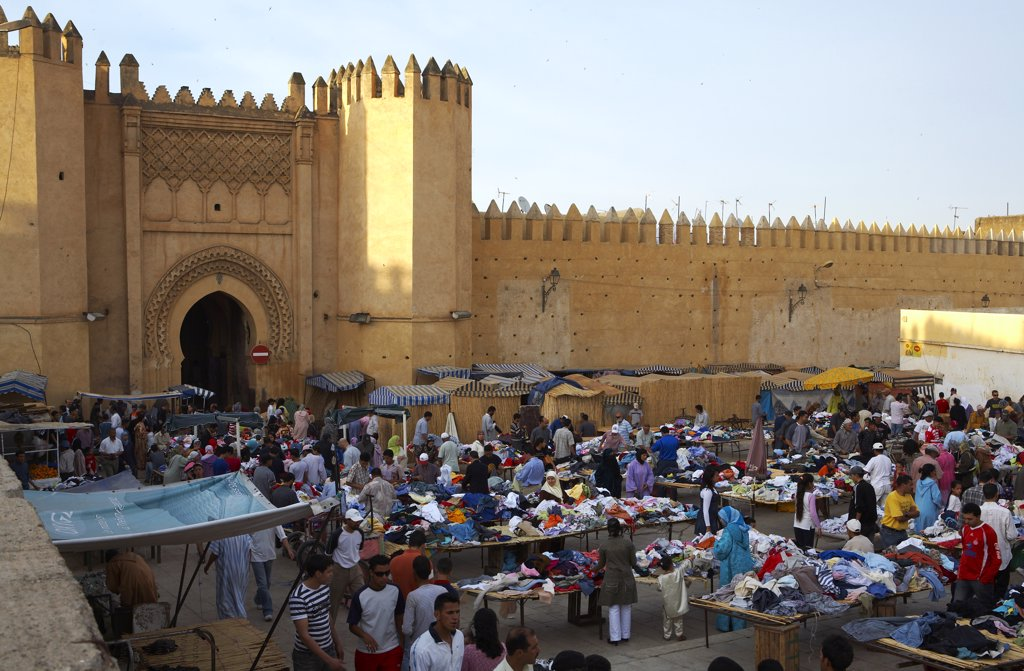 Morocco, Fes. The Second hand market in front of the restored Bab Chorfa. : Stock Photo