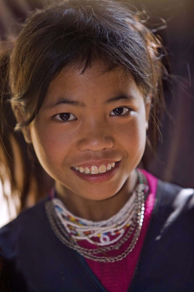Myanmar, Burma, Wan-seeing.  A Loi girl at Wan-seeing village.  The Loi, a Hill Tribe, live in seven villages scattered over a large forested area of the Shan Mountains. : Stock Photo