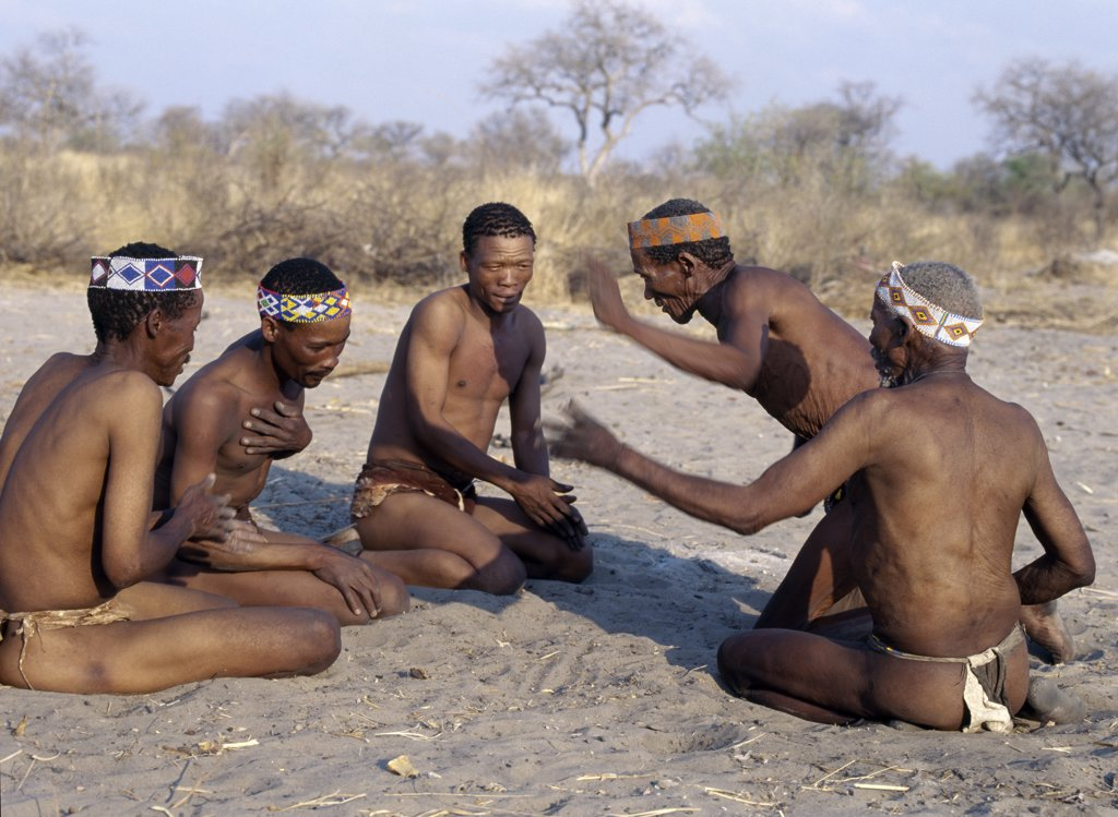 Stock Photo: 4272-22991 A group of Kung men enjoy a lively, competitive game in which the oldest generation of a hunting band pits its skills against a younger generation. The Kung live in the harsh environment of a vast expanse of flat sand and bush scrub country straddling the Namibia Botswana border.