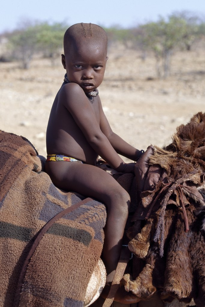 Stock Photo: 4272-23043 A young Himba boy rides home comfortably on a donkey. Sheepskins and blankets make up his saddle.  His body is smeared with a mixture of red ochre, butterfat and herbs. The Himba are Herero speaking Bantu nomads who live in the harsh, dry but starkly beautiful landscape of remote northwest Namibia.