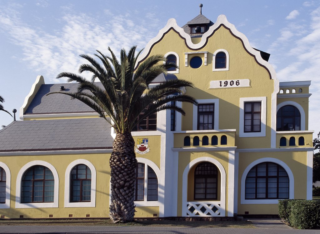 Stock Photo: 4272-23085 The architecture of the seaside town of Swakopmund on Namibias windswept Atlantic coast is distinctly Teutonic, reflecting the countrys colonial past as the Protectorate of German South West Africa from the late 19th century until the end of the Great War.
