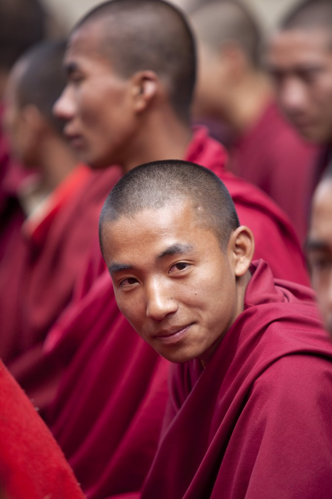 Stock Photo: 4272-2340 Monks debating at the Sangha of the Kharchu Monastery in Chamkar Bhutan