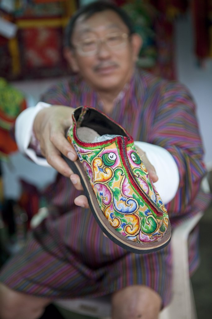 Stock Photo: 4272-2362 Traditional Bhutanese shoes in Bhutan