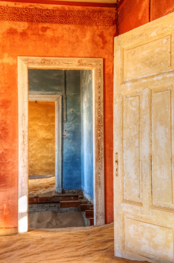 Stock Photo: 4272-23765 Desert taking over mining ghost-town of Kolmanskop, near Luderitz, Southern Namibia, Africa