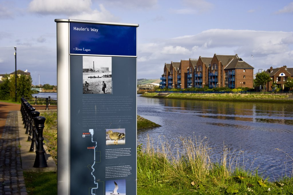 Stock Photo: 4272-24208 Haulers Way, River Lagan in Belfast, North Ireland, UK