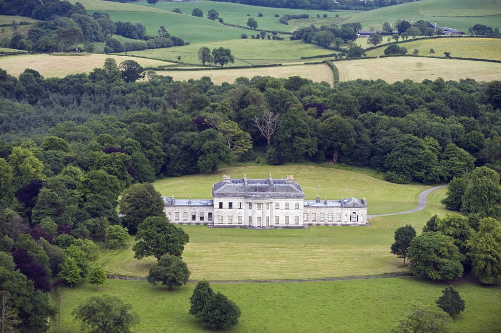 Stock Photo: 4272-24254 Northern Ireland, Fermanagh, Enniskillen. Aerial view of Castle Coole, a late C18th neo-classical Georgian mansion.