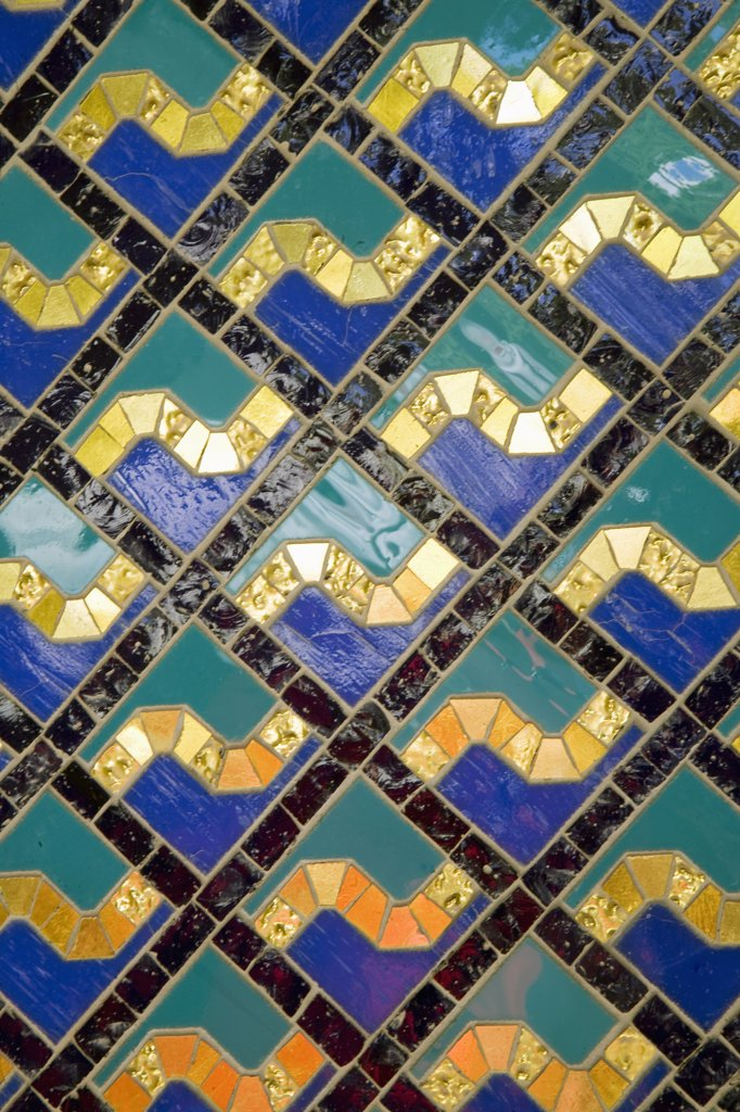Oman, Muscat, Ghala, Al Ghubrah (Grand Mosque) Mosque. Detail of the tile work within the mosque. A magnificent example of modern islamic architecture, it was built for the nation by Sultan Qaboos to mark the 30th year of his reign and is open, at certain times, to non-Muslims. : Stock Photo