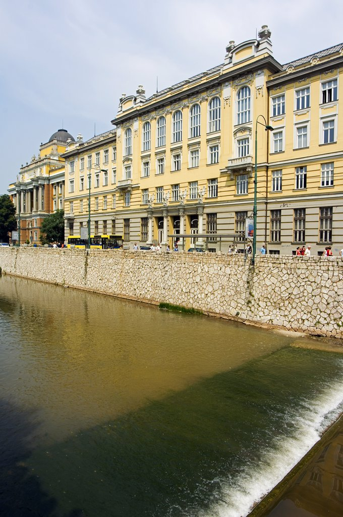 Austro Hungarian Style Building on Miljacka River : Stock Photo