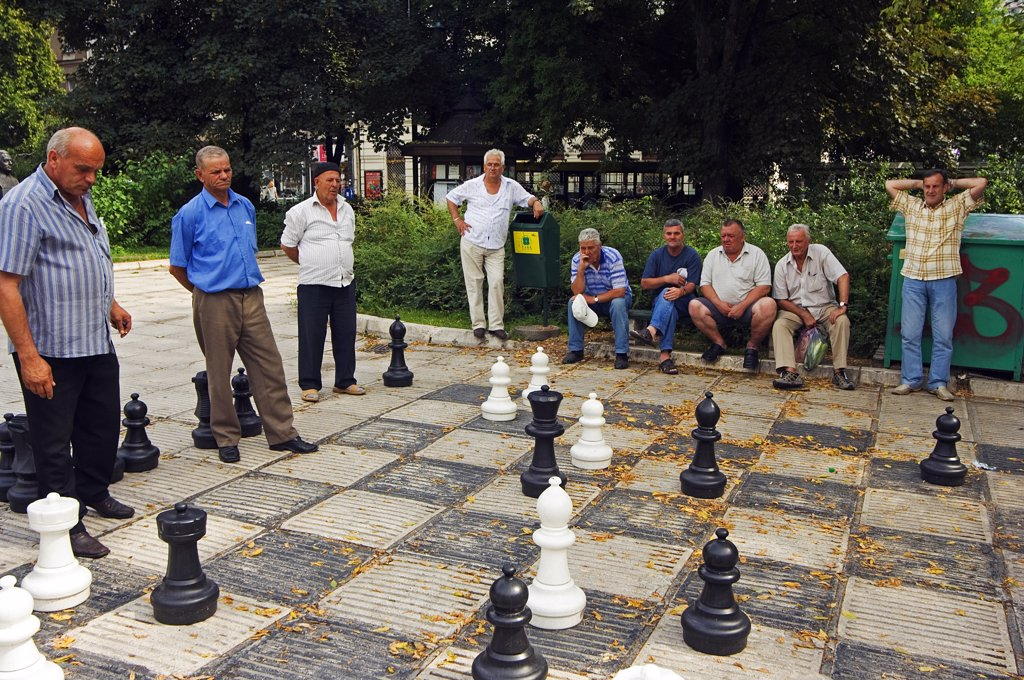 Stock Photo: 4272-2571 Local Men Playing Chess in the Park