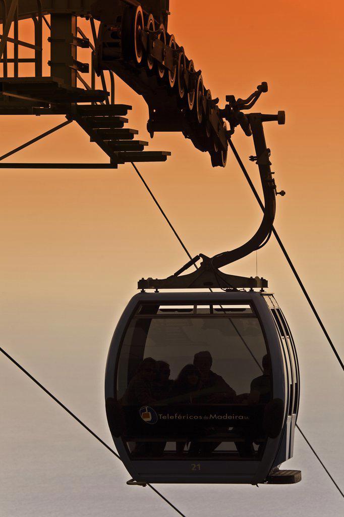 Portugal, Ilha, da Madeira, Funchal, Terreiro da Luta. The gondola cable car near Monte in Terreiro da Luta : Stock Photo