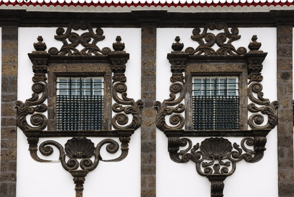 Stock Photo: 4272-26584 Lava windows (18th century) at the Carlos Machado museum in Ponta Delgada. Sao Miguel, Azores islands, Portugal