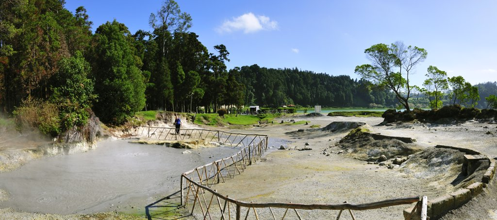 Stock Photo: 4272-26594 Boiling water in crater lakes at Furnas. Sao Miguel, Azores islands, Portugal
