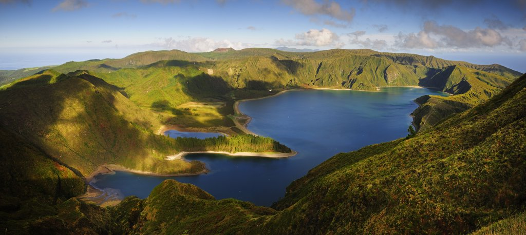 Stock Photo: 4272-26606 The big volcanic crater of Lagoa do Fogo (Fire Lagoon), a nature reserve and one of the most preserved sites in Sao Miguel. Azores islands, Portugal