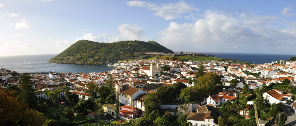 Stock Photo: 4272-26608 Historical center of Angra do Heroismo (UNESCO World Heritage Site) and Monte Brasil. Terceira, Azores islands, Portugal