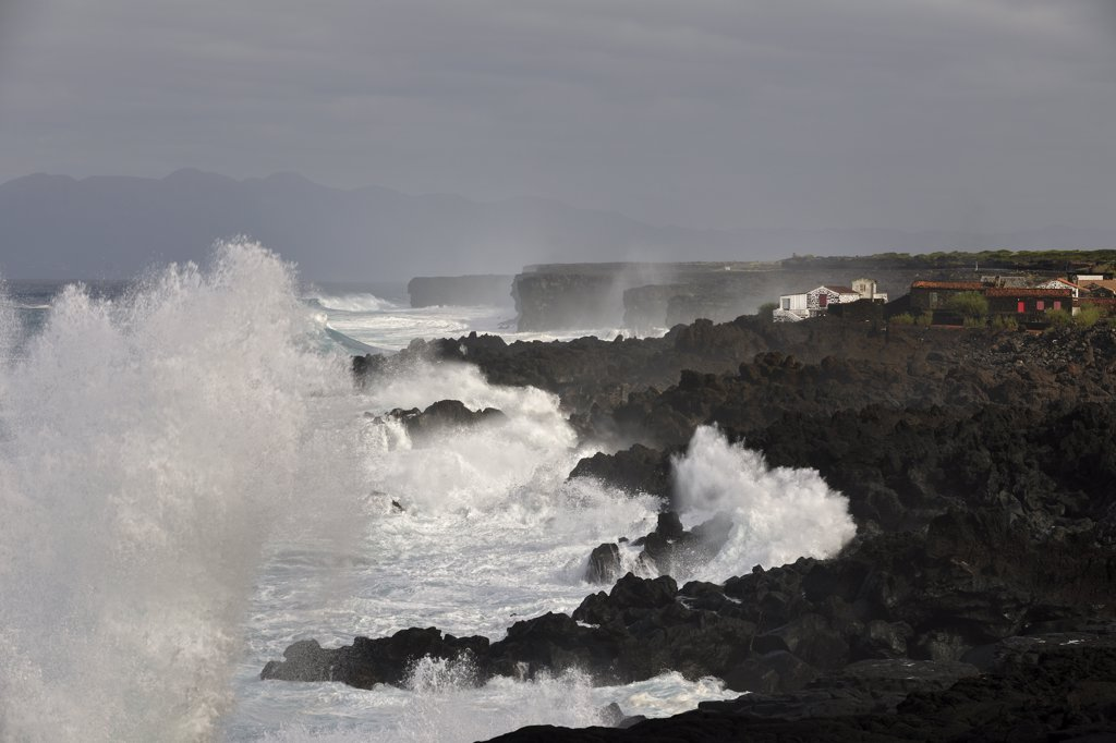 Stock Photo: 4272-26633 Lava rocks on a stormy day at Lagido, a UNESCO World Heritage Site. Pico, Azores islands, Portugal