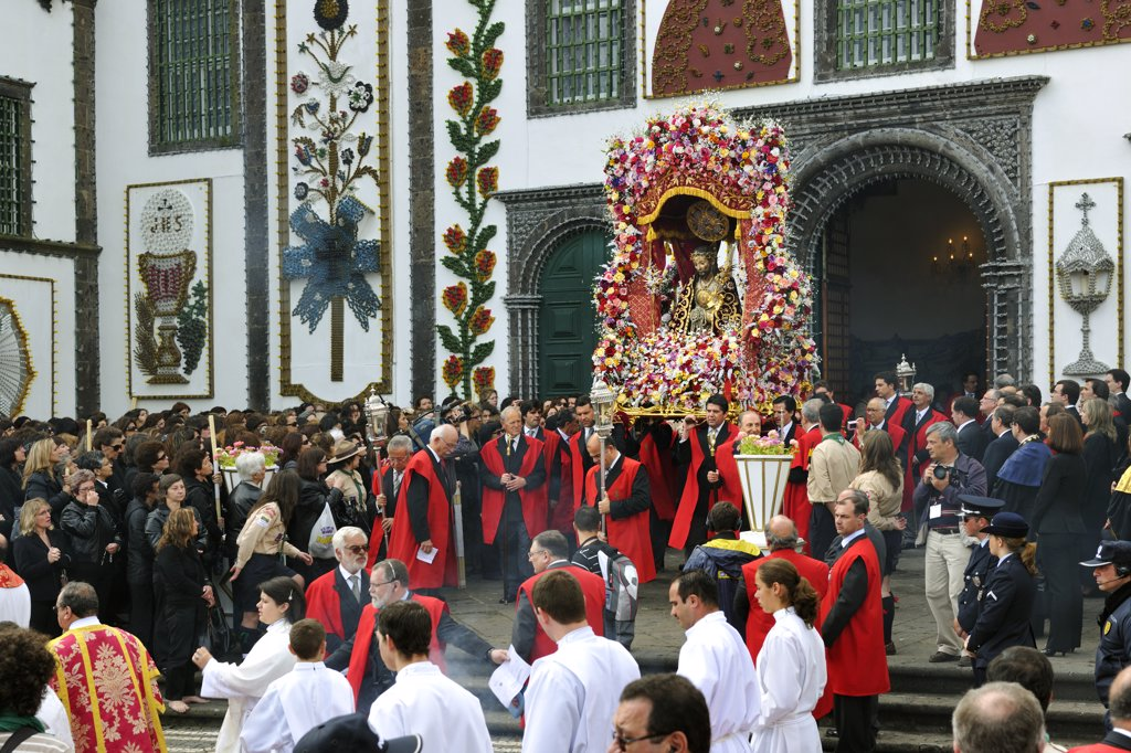 Stock Photo: 4272-26676 Procession of the Holy Christ festivities at Ponta Delgada. Sao Miguel, Azores islands, Portugal