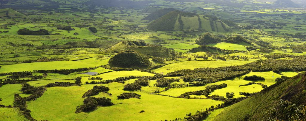 Stock Photo: 4272-26699 Volcanic landscape with pastures between craters. Pico, Azores islands, Portugal