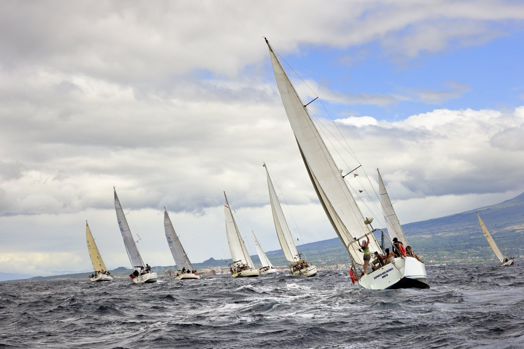 Regattas in the sea channel between Faial and Pico islands. Faial, Azores islands, Portugal : Stock Photo