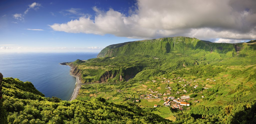 The little village of Fajazinha. The westernmost location in Europe. Flores, Azores islands, Portugal : Stock Photo