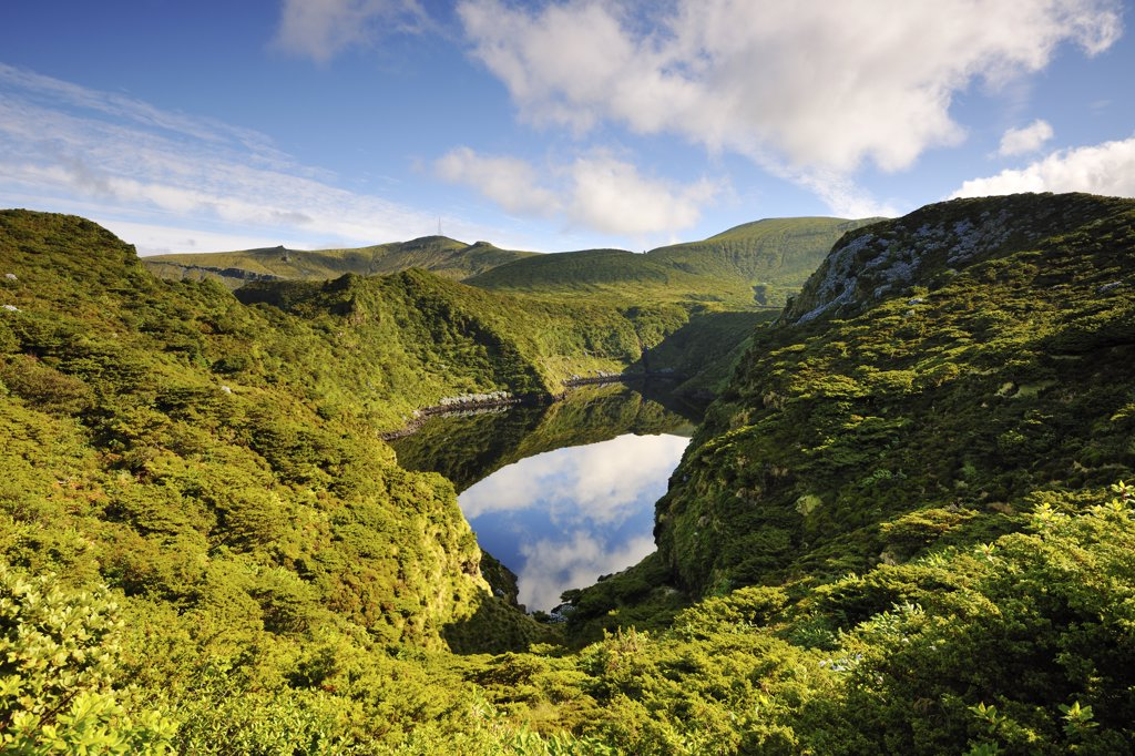 Stock Photo: 4272-26755 Crater lake, Caldeira Comprida. Flores, Azores islands, Portugal