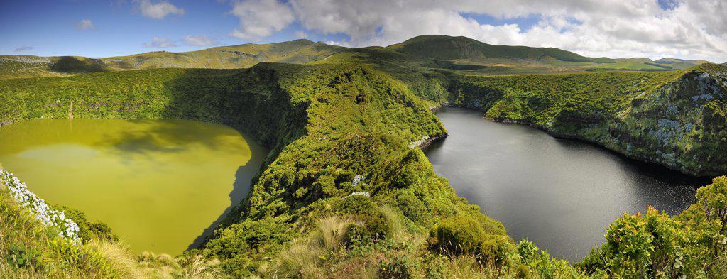 Stock Photo: 4272-26760 Crater lakes, Caldeira Comprida & Caldeira Funda. Flores, Azores islands, Portugal