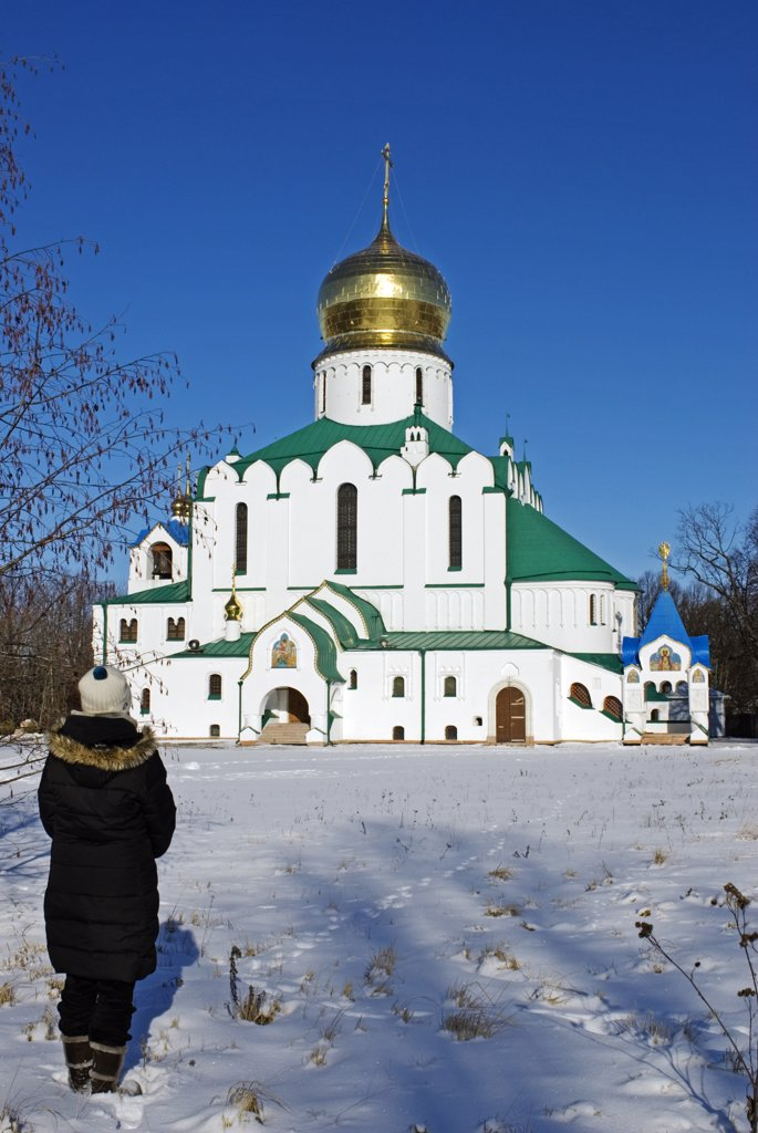 Stock Photo: 4272-27051 Russia, St Petersburg, Tsarskoye Selo (Pushkin). Fyodorovsky Cathedral. This was the favourite church of Tsar Nicholas II and his family while being held at the Alexander Palace and before their transportation to Siberia.