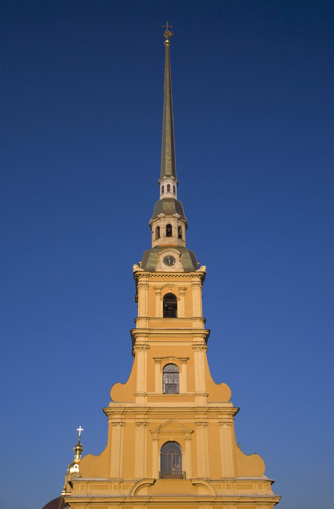 Russia, St.Petersburg; The pointed, golden bell tower on top of the St.Peter and St.Paul's church : Stock Photo