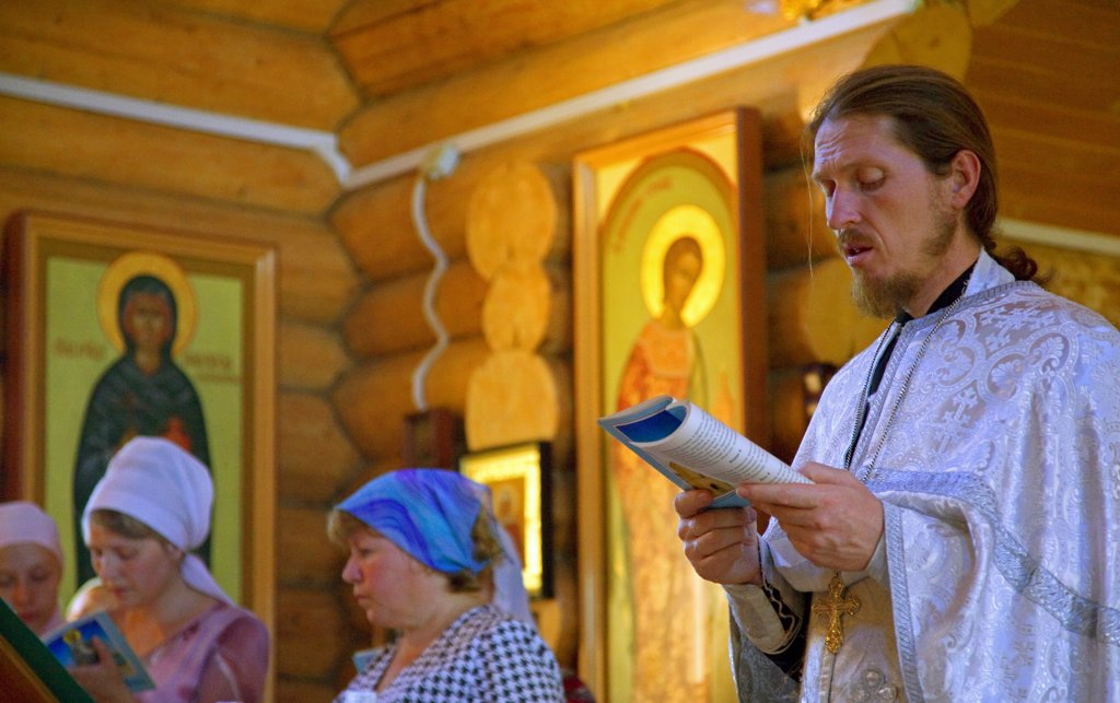 Stock Photo: 4272-27284 Russia, Sakhalin; An orthodox ceremony in a small church in the suburbs of Yuzhno-Sakhalinsk.