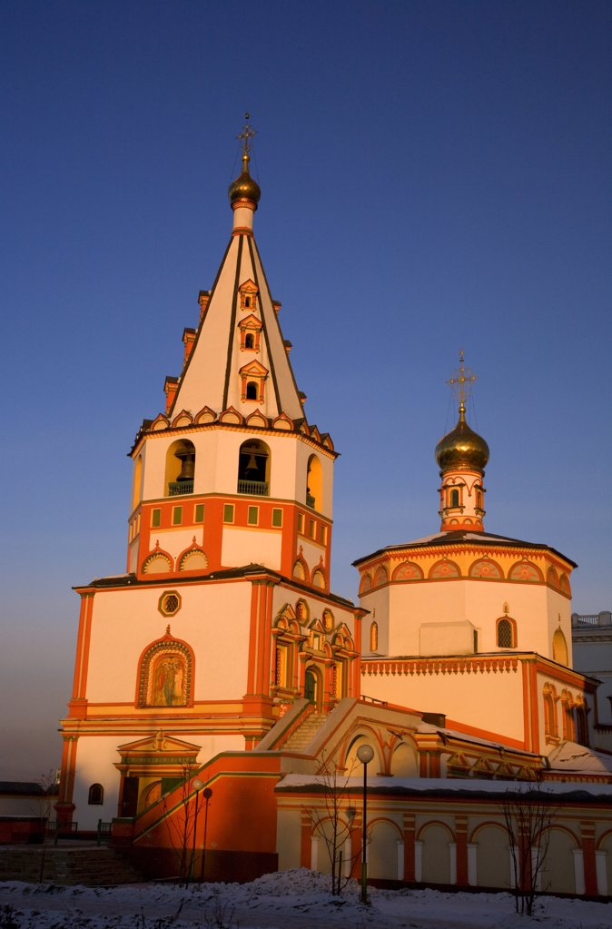 Stock Photo: 4272-27340 Russia, Siberia, Irkutsk; Bell towers on one of the main Cathedrals at Irkutsk.