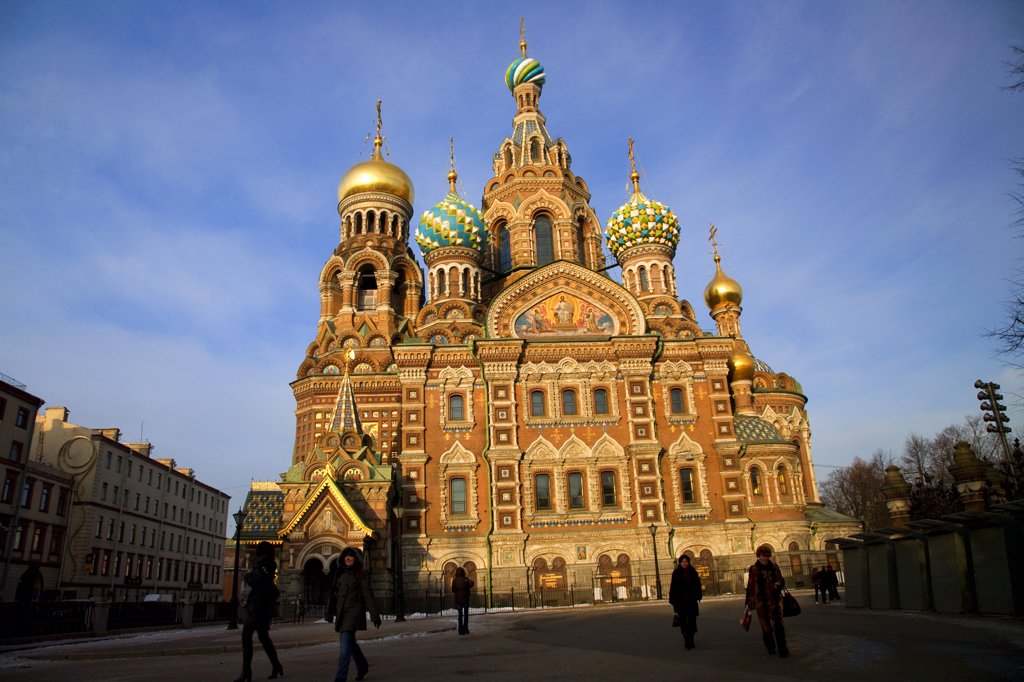 Russia, St. Petersburg; The restored Church of Christ the Saviour, also known as Church on Spilled Blood : Stock Photo