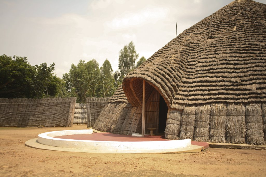 Nyanza, Rwanda. A reconstruction of the kings palace is the focus for the National Museum. : Stock Photo