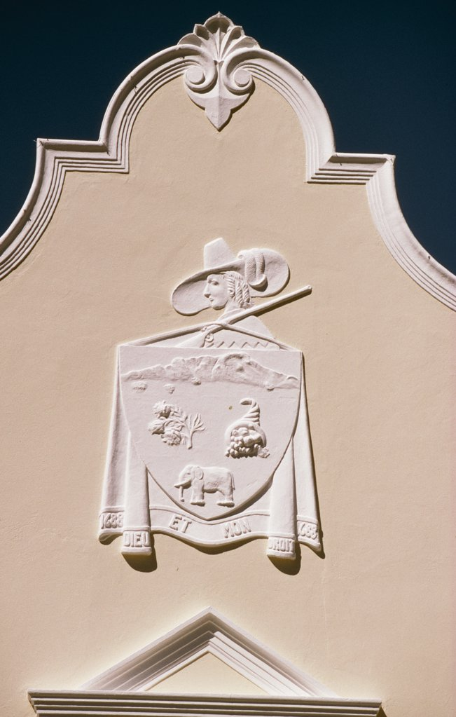 Dutch Cape Colonial Architecture on gable end of building in the Stellenbosch area : Stock Photo