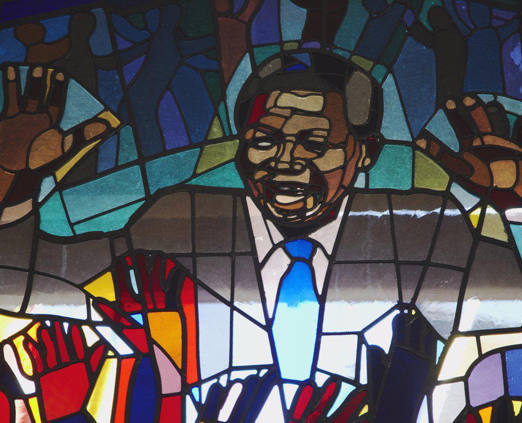 Stock Photo: 4272-28159 Stained glass window of Nelson Mandela, Regina Mundi Catholic Church (scene of Soweto uprising), Soweto, Johannesburg, Gauteng, South Africa