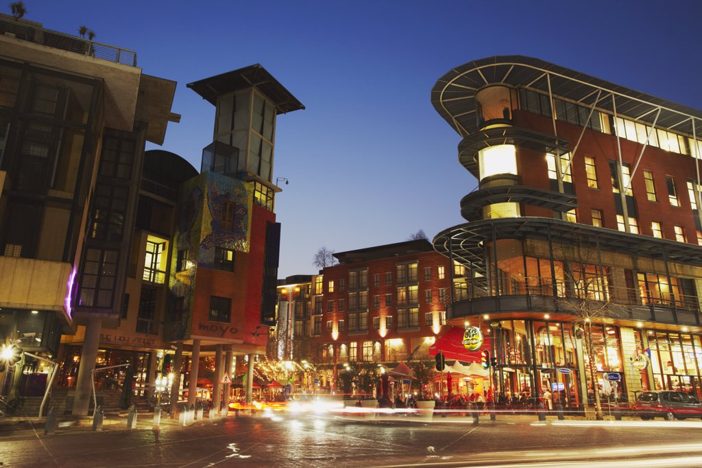 Melrose Square at dusk, Melrose, Johannesburg, Gauteng, South Africa : Stock Photo
