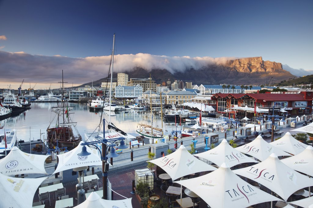 Stock Photo: 4272-28283 Victoria and Alfred Waterfront at dawn, Cape Town, Western Cape, South Africa