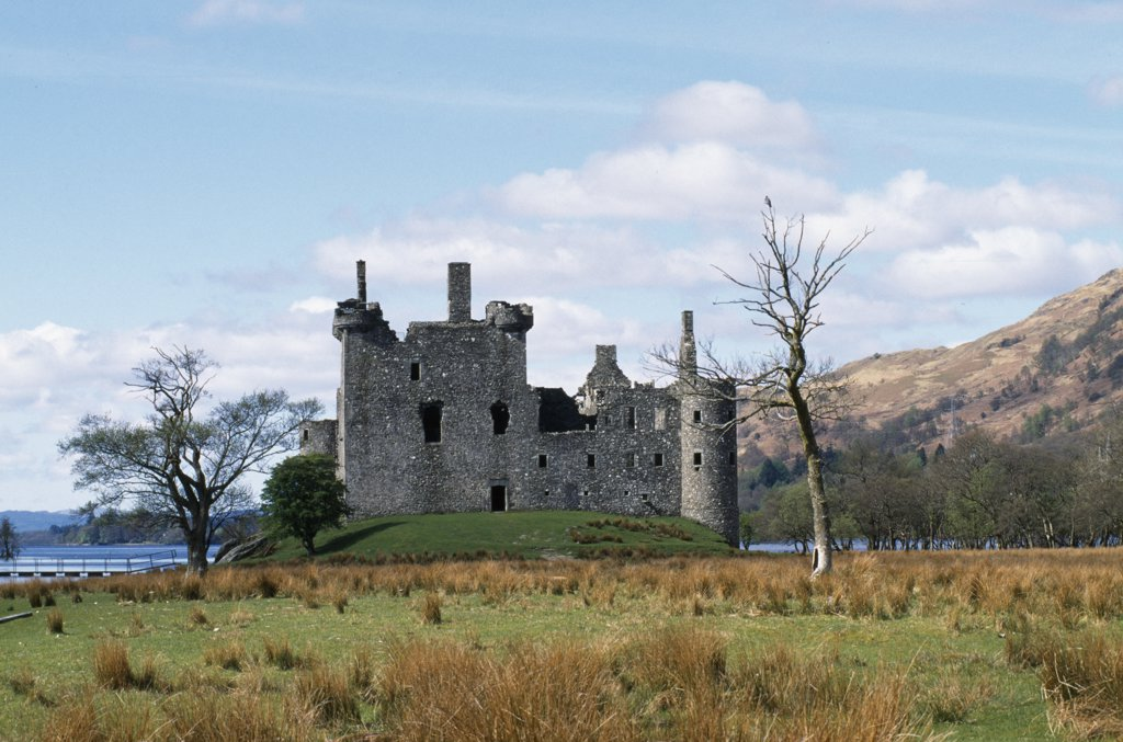 Stock Photo: 4272-28838 Built in the fifteenth century, KilchurnCastle was a Campbell stronghold on the shores of Loch Awe.  It was destroyed by lightning in the 1760s and is now one of Aryll's most photogenic sights.