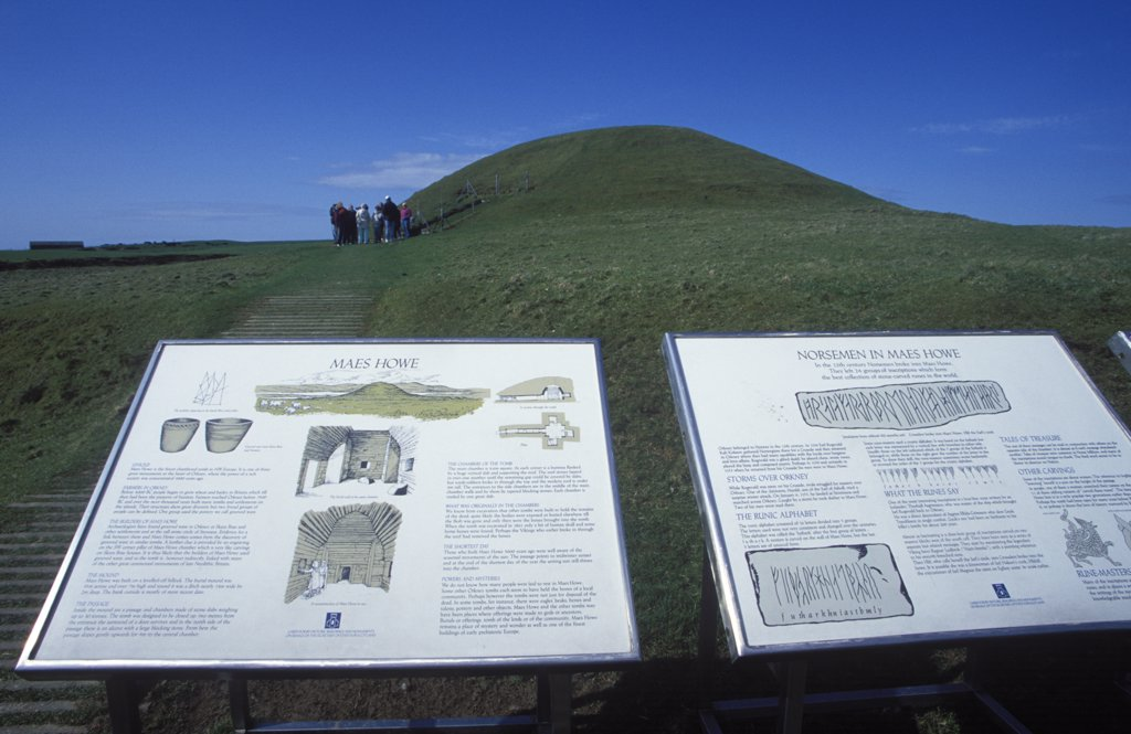 Stock Photo: 4272-29002 Information board at the entrance to Maes Howe, Neolithic burial chamber