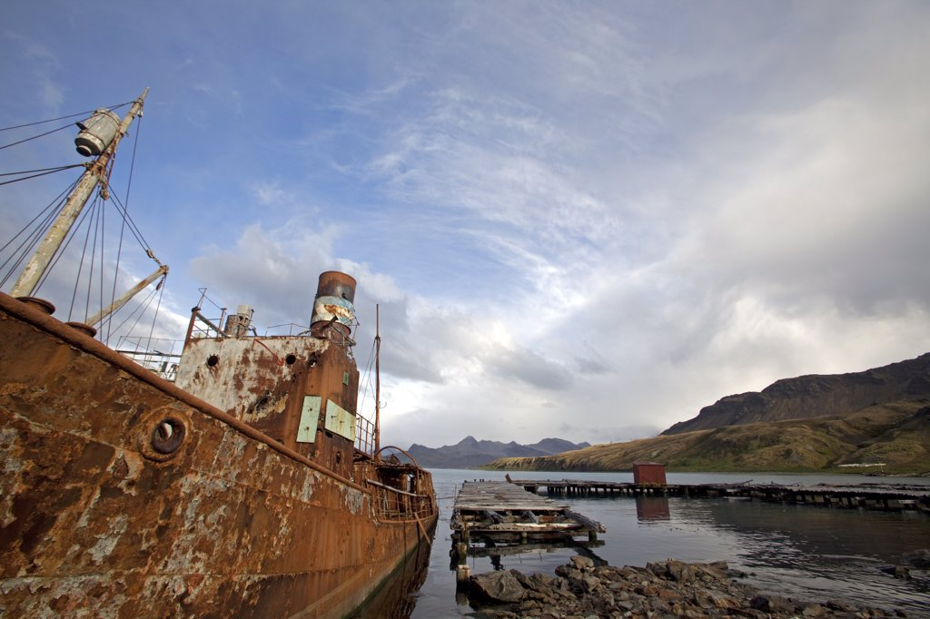 Stock Photo: 4272-29505 South Georgia and the South Sandwich Islands, South Georgia, Cumberland Bay, Grytviken. The settlement of Norwegian whalers abandoned as the value of whale oil decreased.