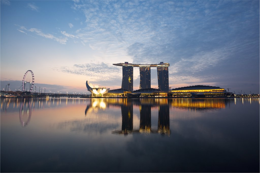 Stock Photo: 4272-29678 Singapore, Singapore, Marina Bay.  The Marina Bay Sands Singapore.  The hotel complex includes a casino, shopping mall and the ArtScience Museum.