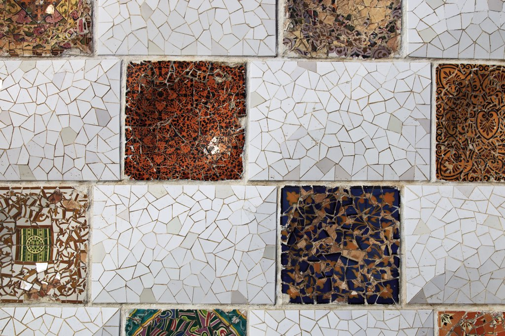 Stock Photo: 4272-30372 Spain, Cataluna, Barcelona, El Coll, Tiling detail from a wall in Parc Guell designed by the architect Antoni Gaudi.