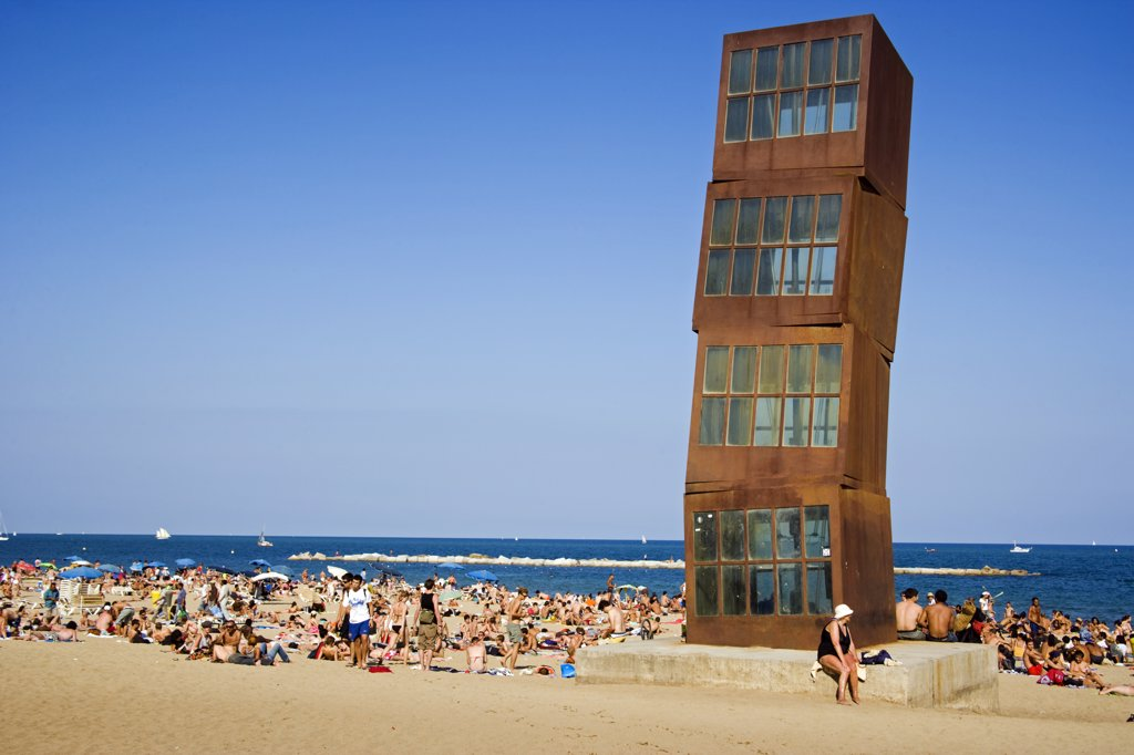 Rebecca Horn_s sculpture _The Wounded Star_ (L_Estel Ferit) on Barceloneta Beach. Barcelona. Spain : Stock Photo