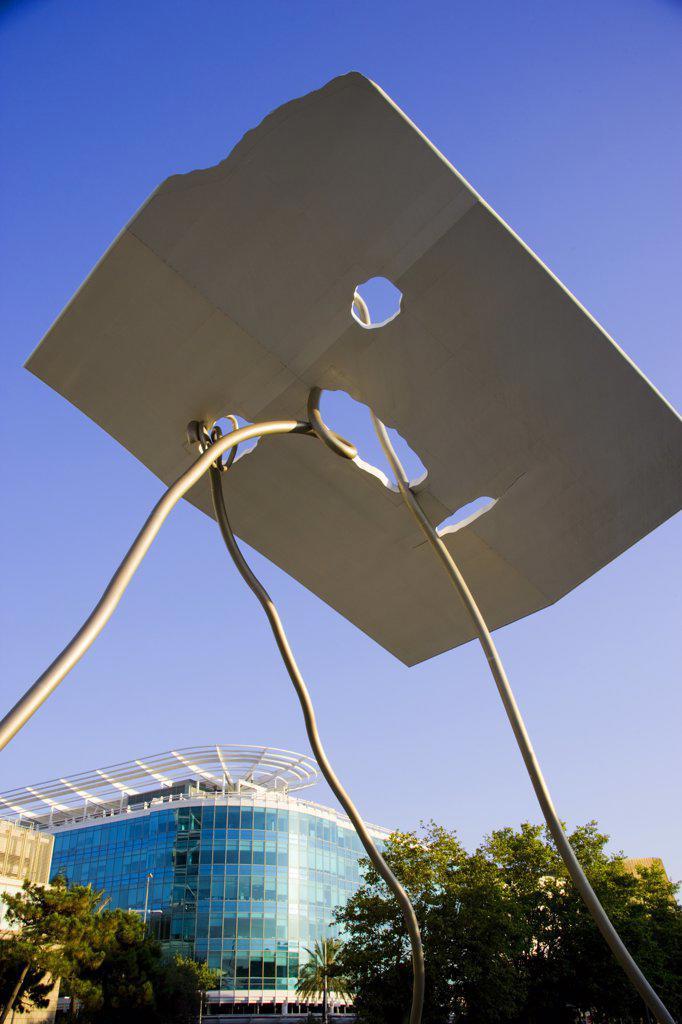 Stock Photo: 4272-30531 David i Goliat sculpture. Antoni Llena 1992. Olympic Village. Barcelona. Spain.