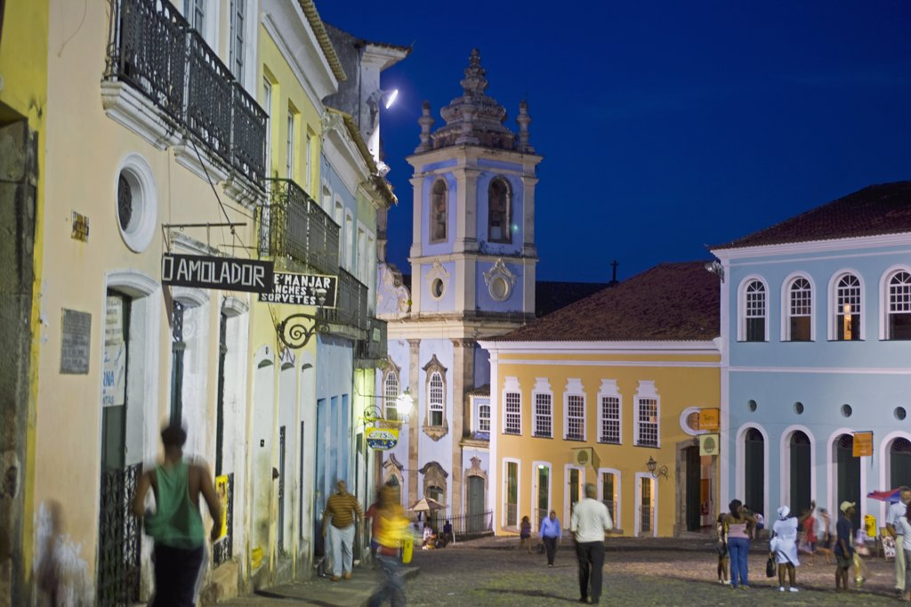 Stock Photo: 4272-3095 Night time in the Cidade Alta of the UNESCO listed colonial city of Salvador de Bahia, in the north east Bahia Region of Brazil